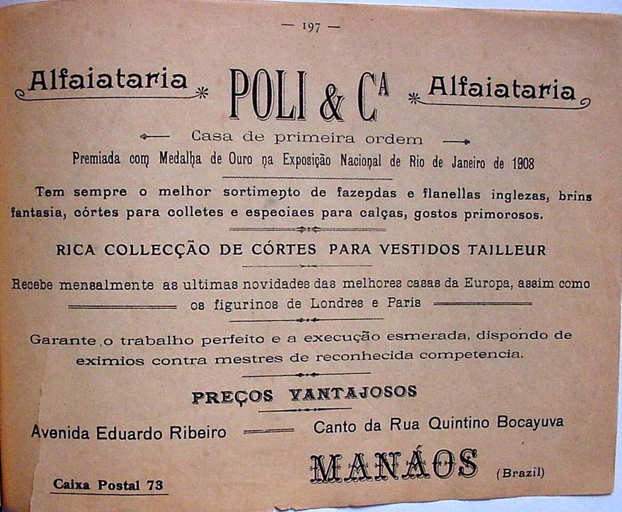 Anúncio da Grande Alfaiataria Poli & Cia