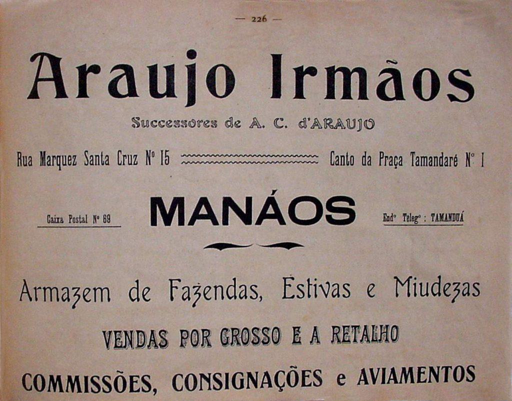 Propaganda do Armarinho Araujo Irmãos