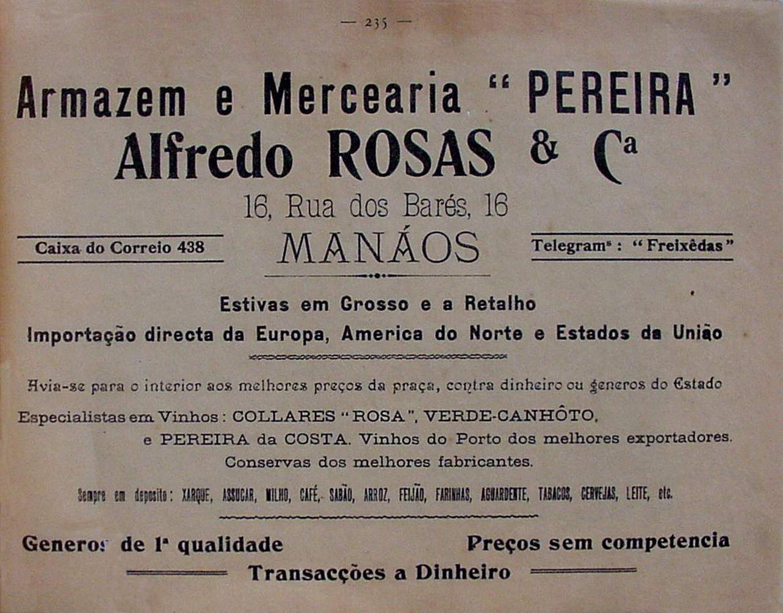 Propaganda do Armazém e Mercearia Pereira