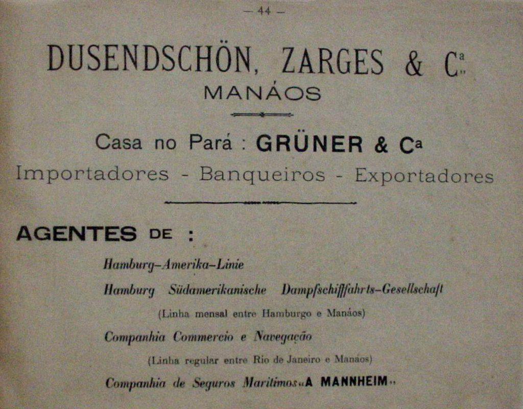 Propaganda do Armazém Dusendschon, Zarges & Cia