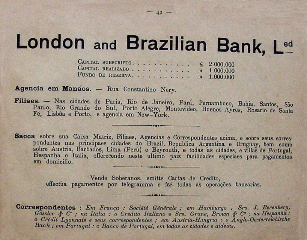 Propaganda do Banco London and Brazilian Bank
