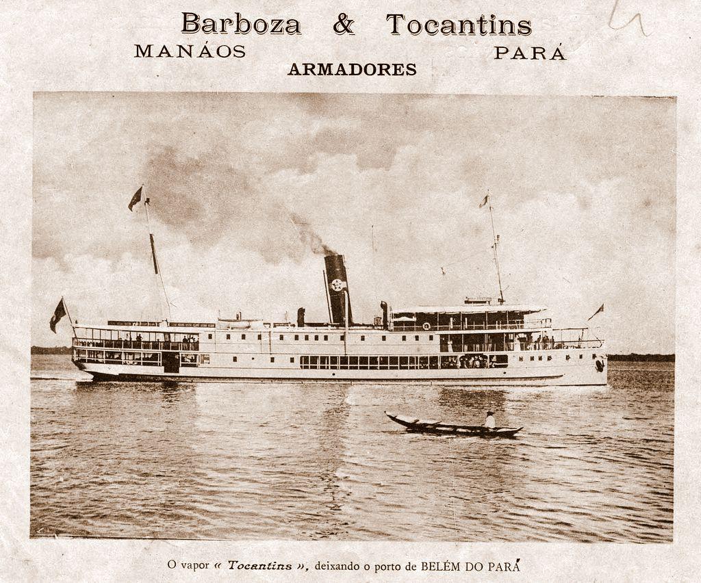 Barco à Vapor Tocantins da empresa Barboza e Tocantins