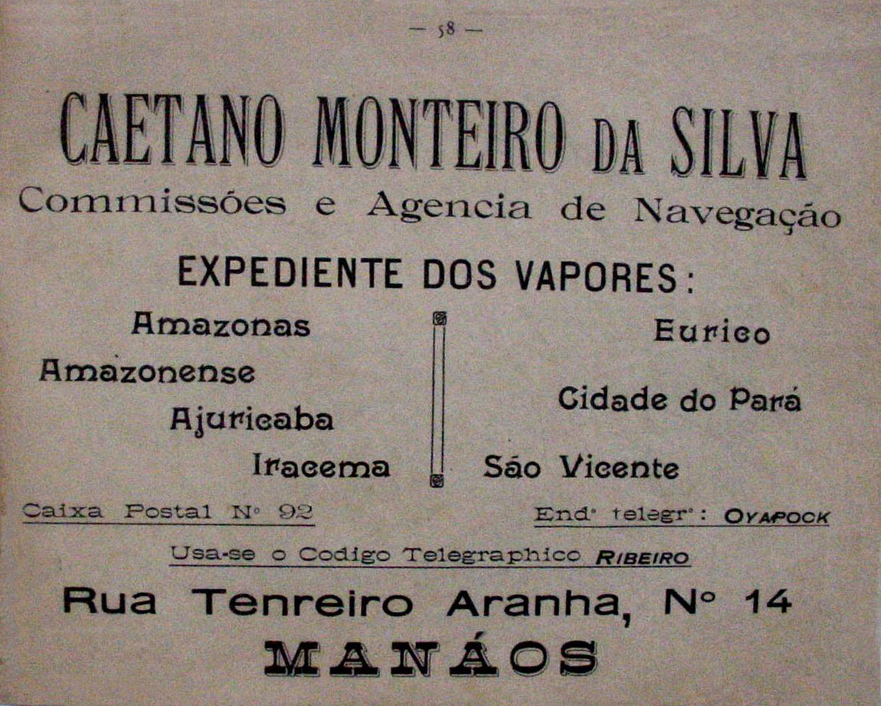 Propaganda da Empresa Caetano Monteiro da Silva