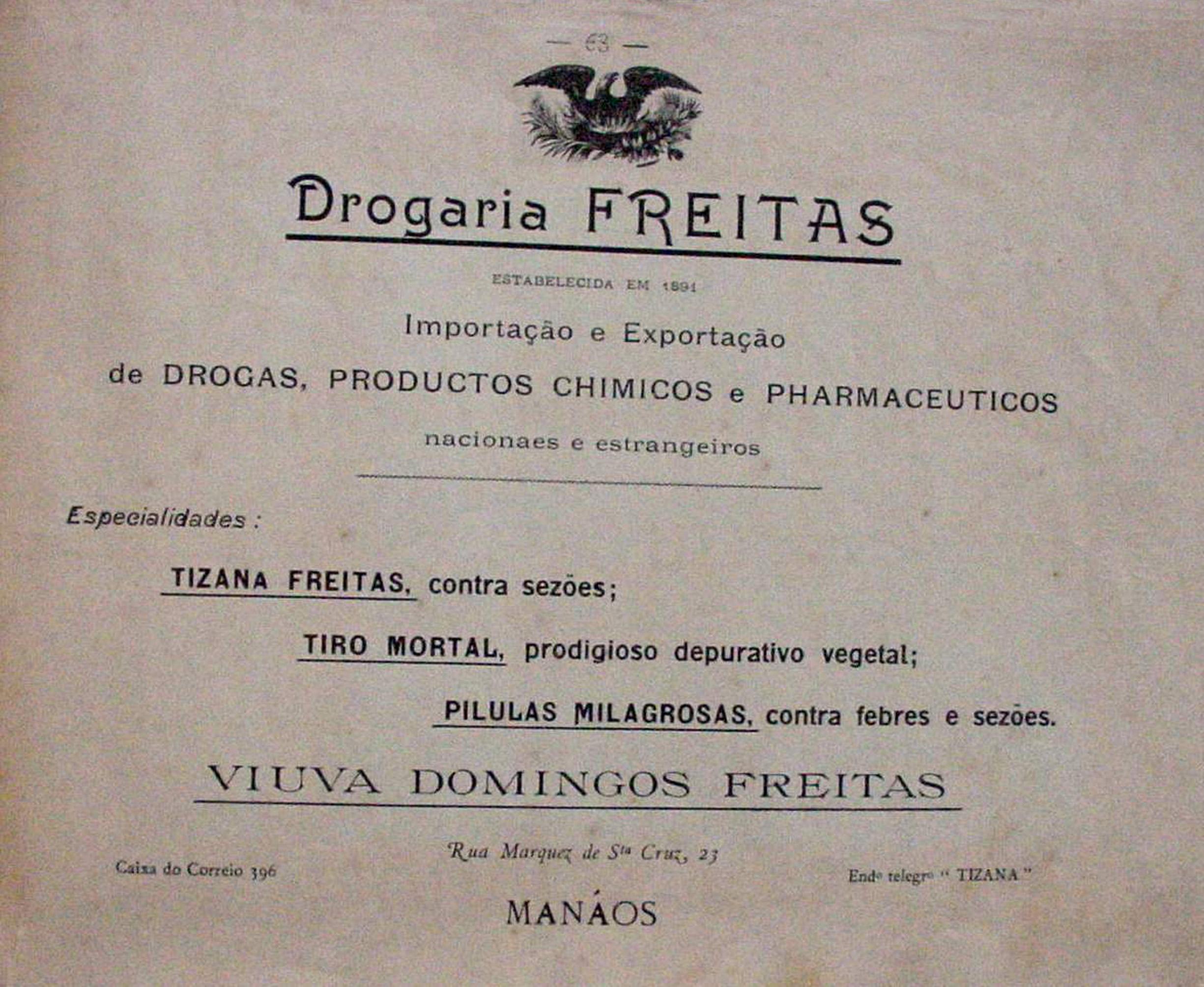 Propaganda da Drogaria Freitas