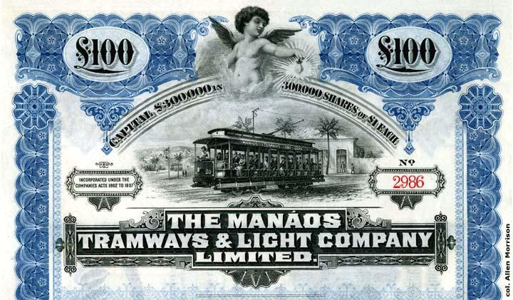 Certificado de 1909 da Manáos Tramways & Light Company Limited - IDD