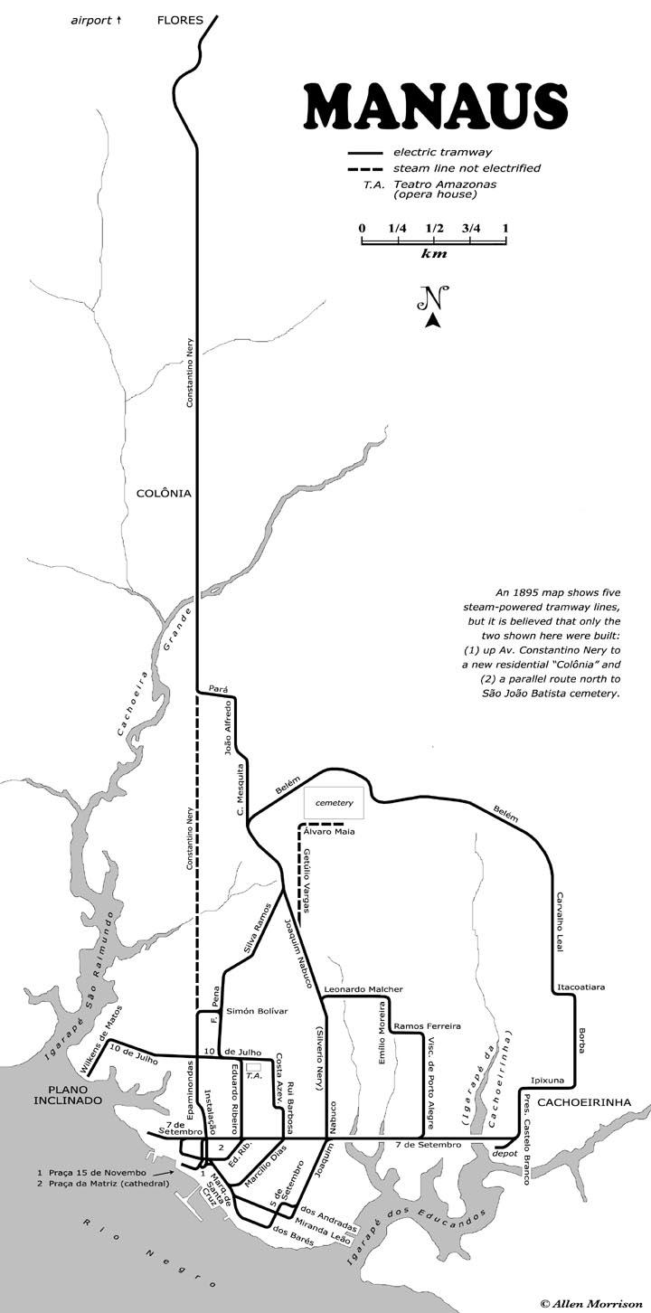 Mapa das linha dos bondes em Manaus - Instituto Durango Duarte