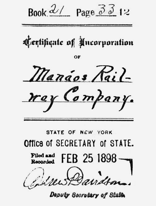 Certificado de incorporação da Manáos Railway Company - IDD