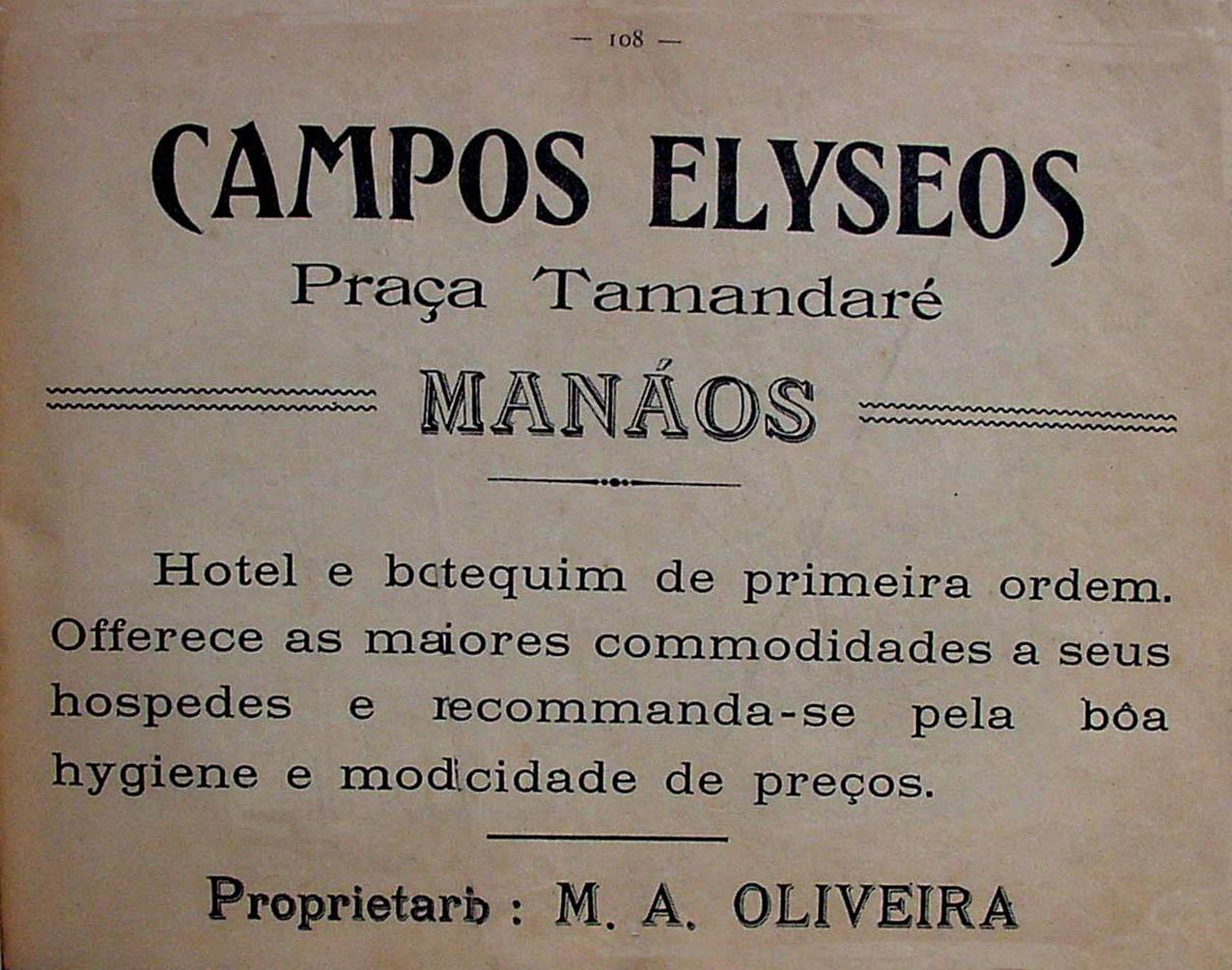 Propaganda do Hotel e Botequim Campos Elyseos