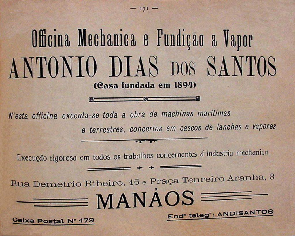 Anúncio da Oficina Mecânica e Fundição à Vapor