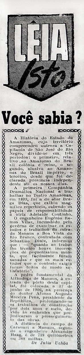 Primeira Companhia Dramática Nacional no Teatro Amazonas