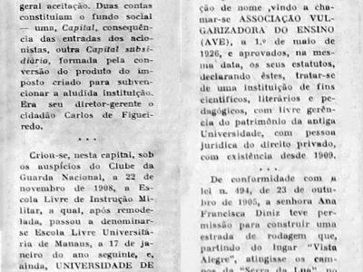 Criação da Universidade de Manaus em 1909