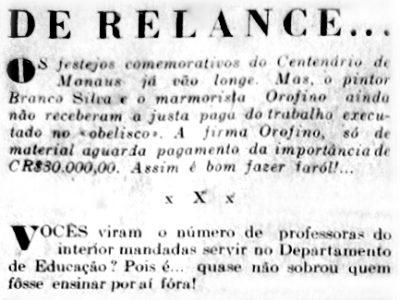 Os festejos do Centenário de Manaus