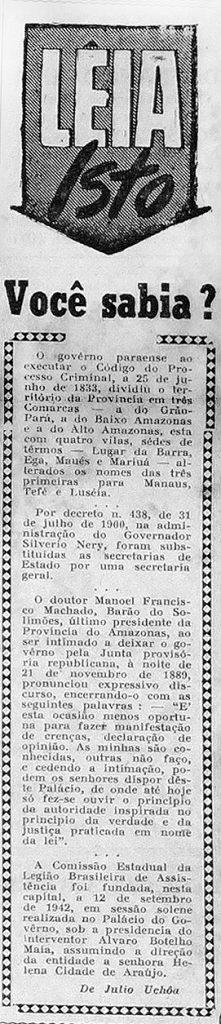 Governo Paraense Dividiu a Província em Três Comarcas