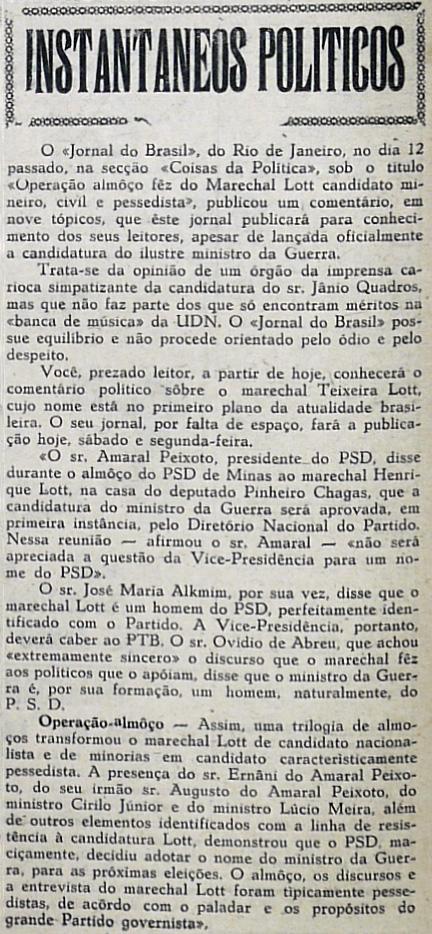 Ministro da Guerra Marechal Teixeira Lott