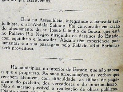 Gilberto Mestrinho nos Jornais do Distrito Federal