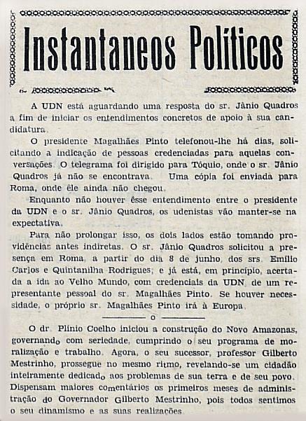 Plínio Coelho Iniciou a Construção do Novo Amazonas