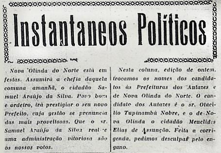 Prefeito Samuel Araújo da Silva assumirá Nova Olinda do Norte