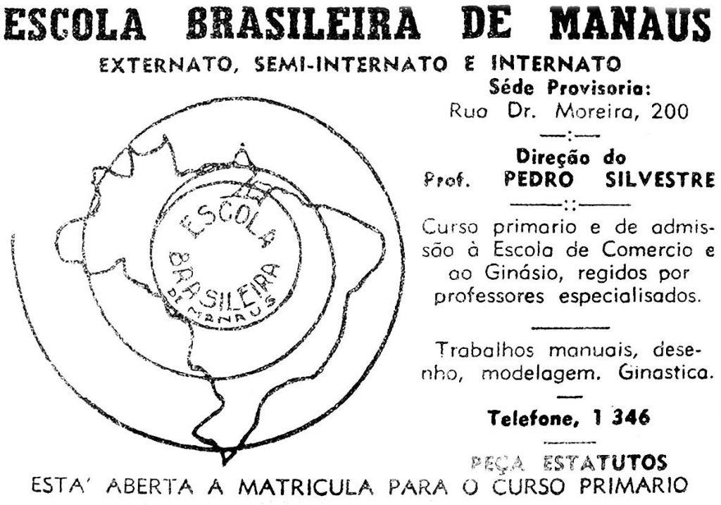 Durango Duarte - Anúncio da Escola Brasileira de Manaus