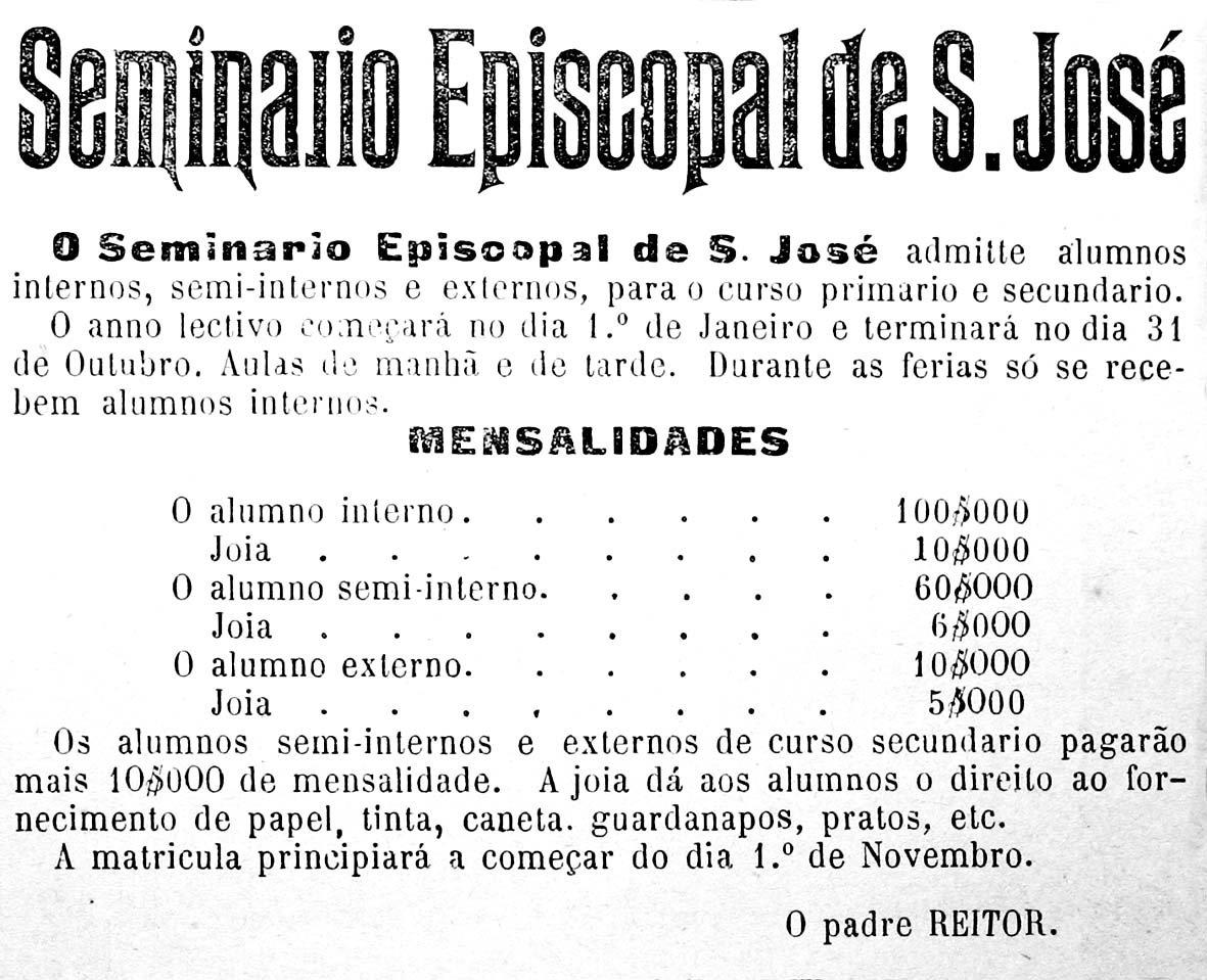 Anúncio do Seminário Episcopal de São José