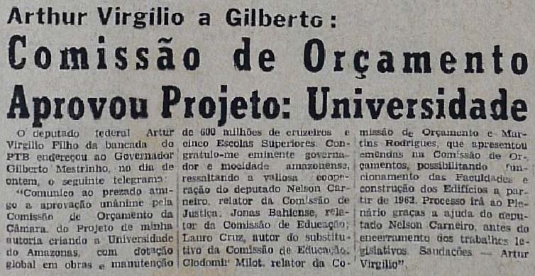 Aprovação do Projeto da Universidade do Amazonas