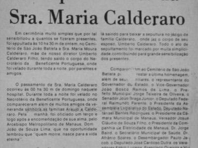 O passamento da sra. Maria Calderaro
