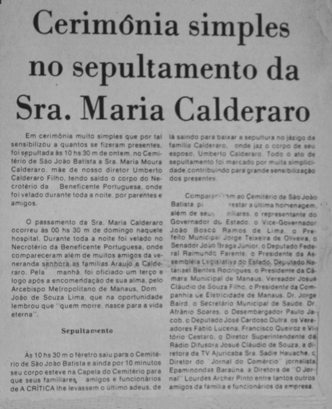 Falecimento da sra. Maria Calderaro