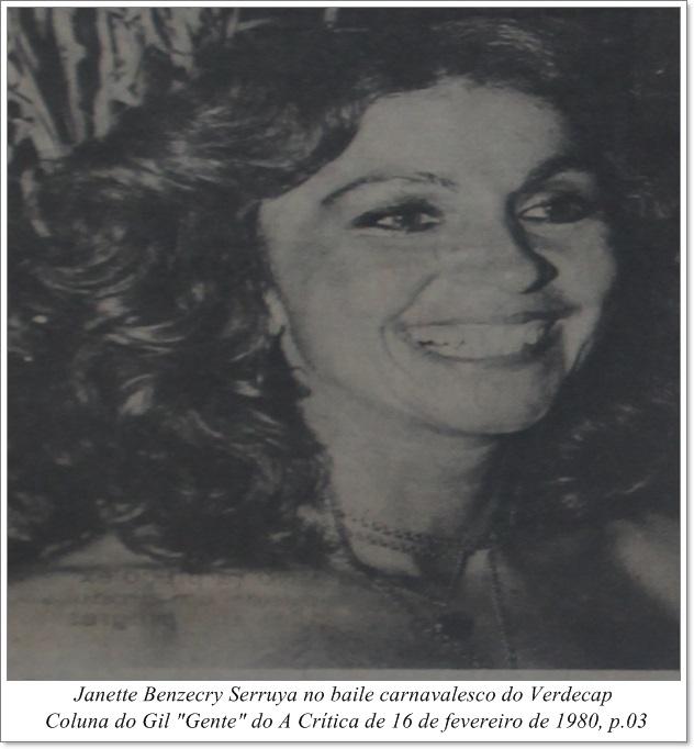Janette Benzecry Serruya no carnaval do Verdecap - IDD 1980