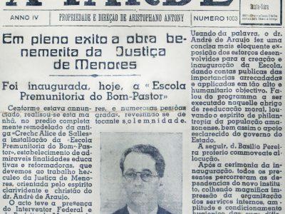 Inauguração da Escola Premunitória Bom Pastor