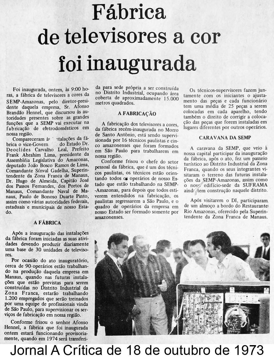 Inauguração da fábrica SEMP de televisores