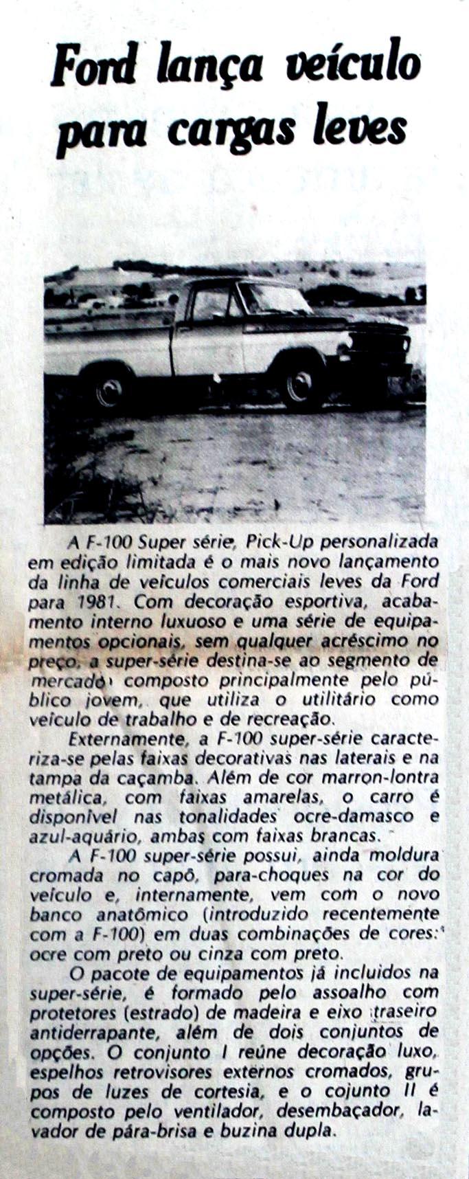 Ford lança Pick-Up F-100