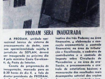 Inauguração da Prodam
