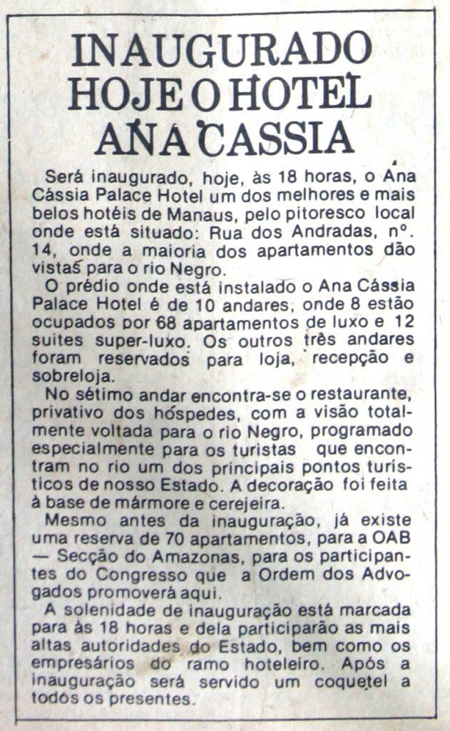 Inauguração do Hotel Ana Cássia