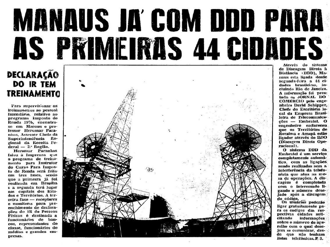 Manaus já utiliza a Discagem Direta à Distância-DDD