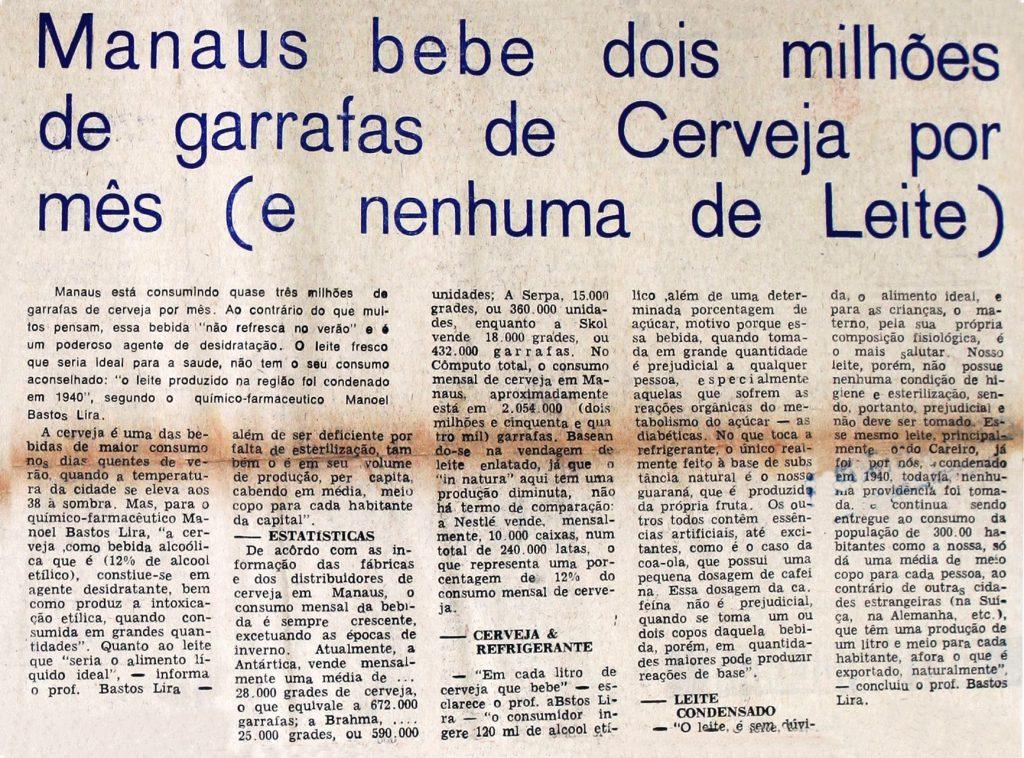 O consumo elevado de cerveja em Manaus