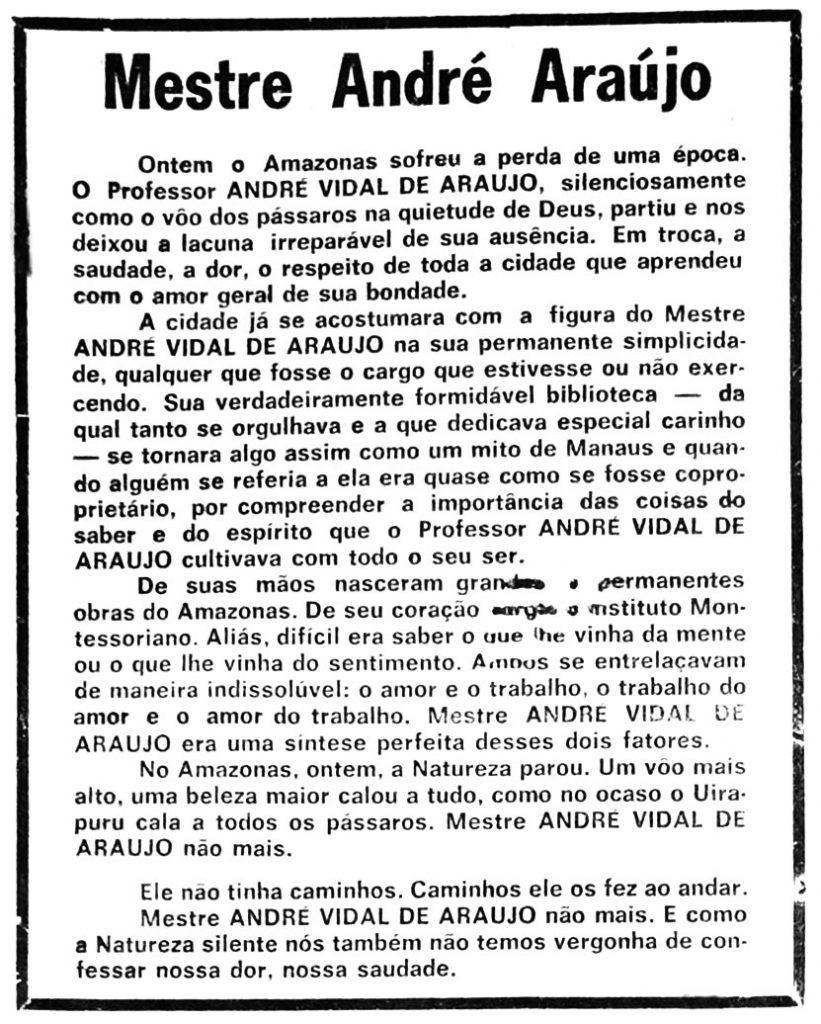 Falecimento de André Araújo