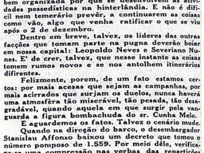 Cunha Melo, rumos políticos