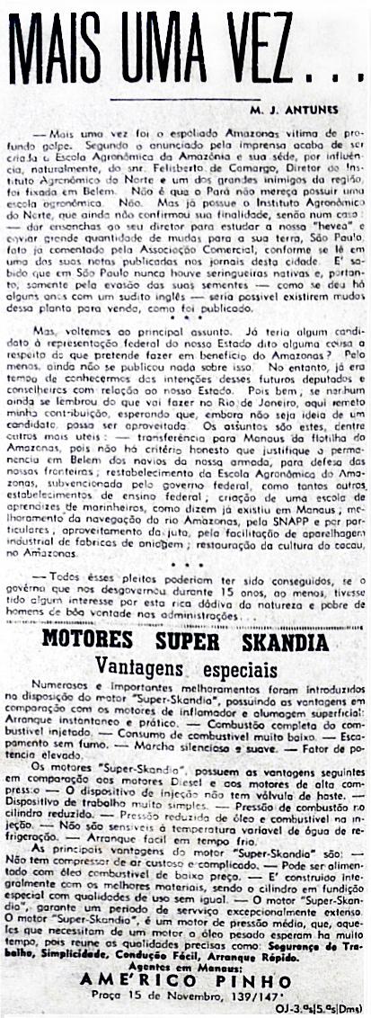 Coluna escrita por M. J. Antunes em O Jornal