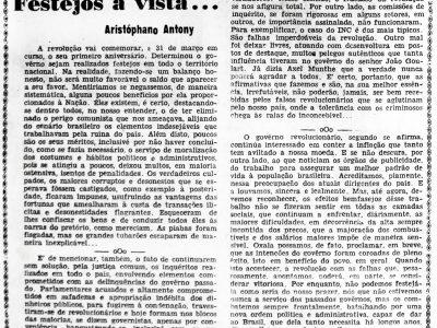 Comemoração de 1 ano da Revolução de 1964