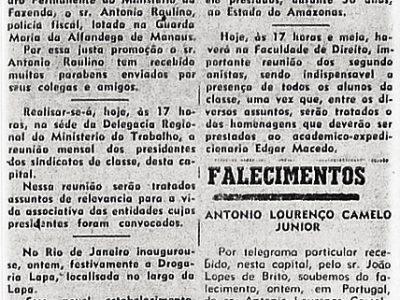 Falecimento de Antonio Lourenço Camelo Junior