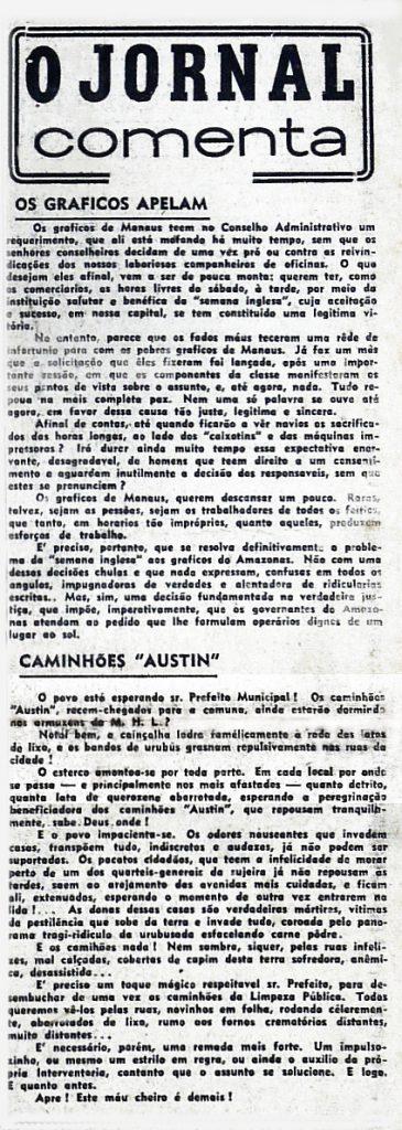 As reivindicações dos trabalhadores gráficos de Manaus