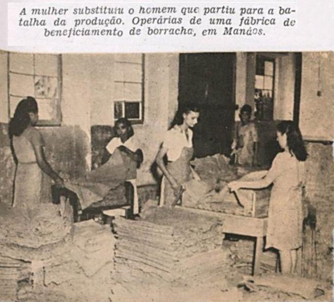 Mulheres trabalhando no beneficiamento da borracha