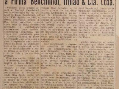 Os 20 Anos da Firma Benchimol, Irmão & Cia