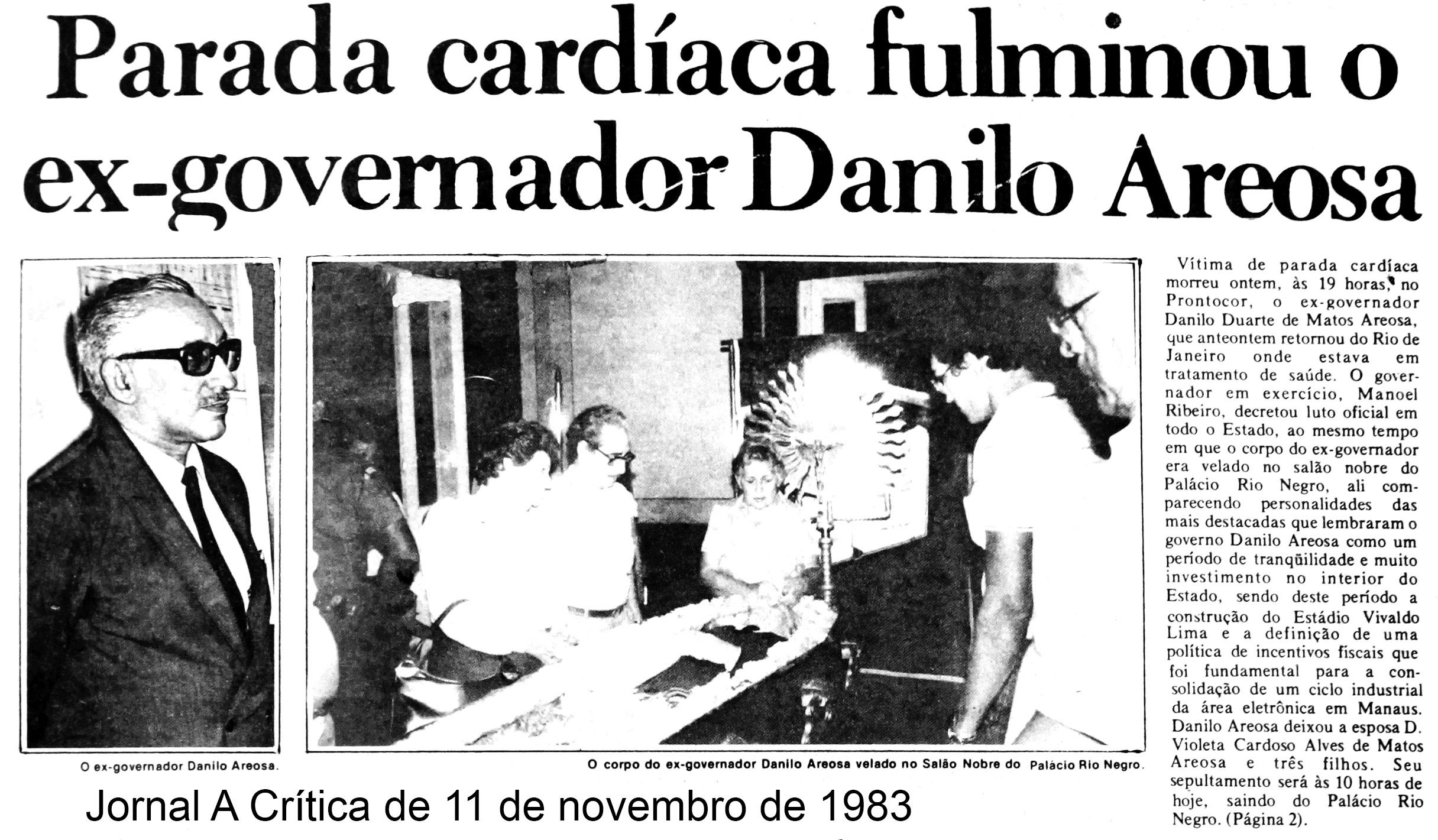 Falecimento de Danilo Areosa