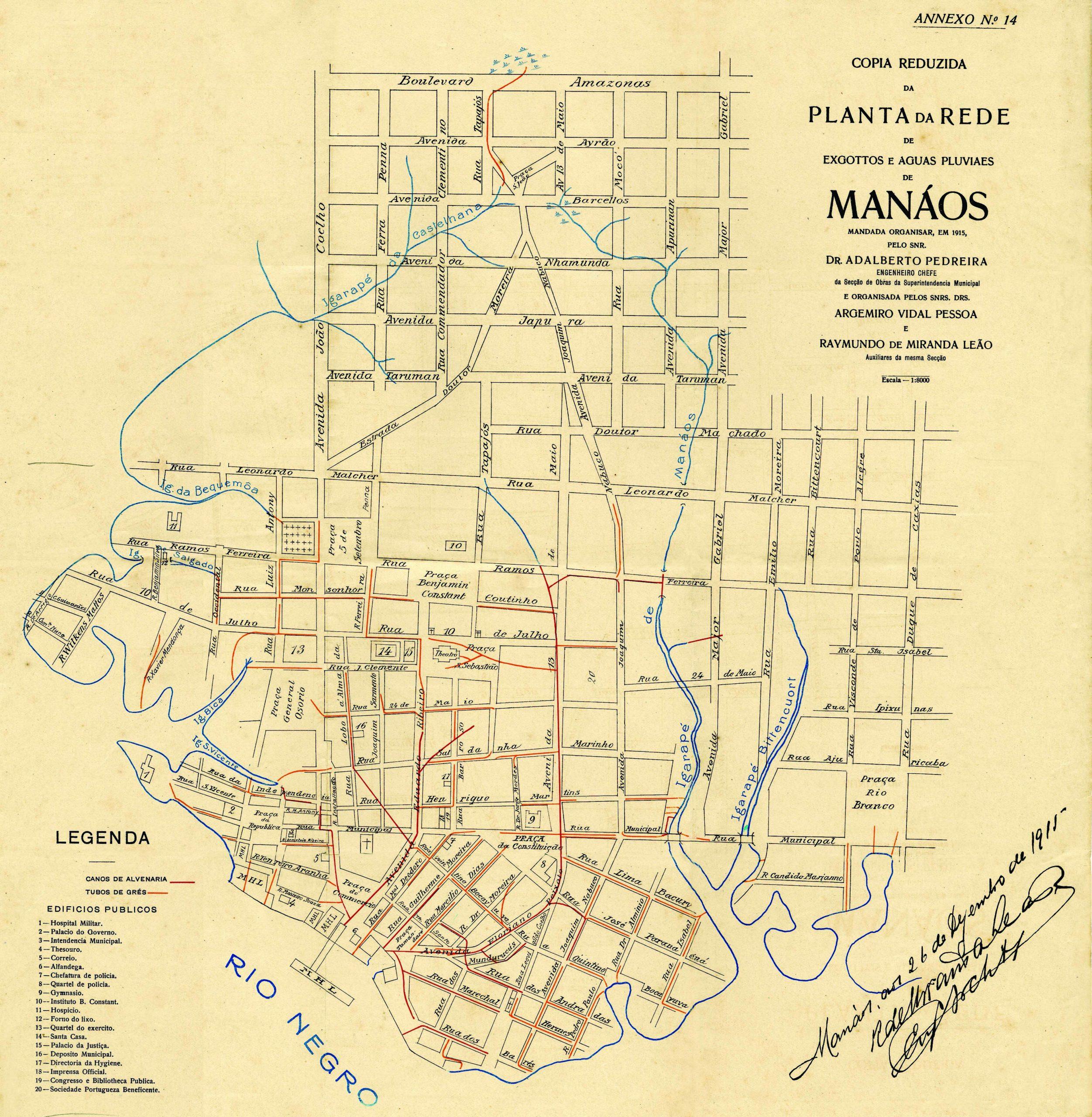 Planta da Rede de Esgotos e Água Pluviais de Manáos