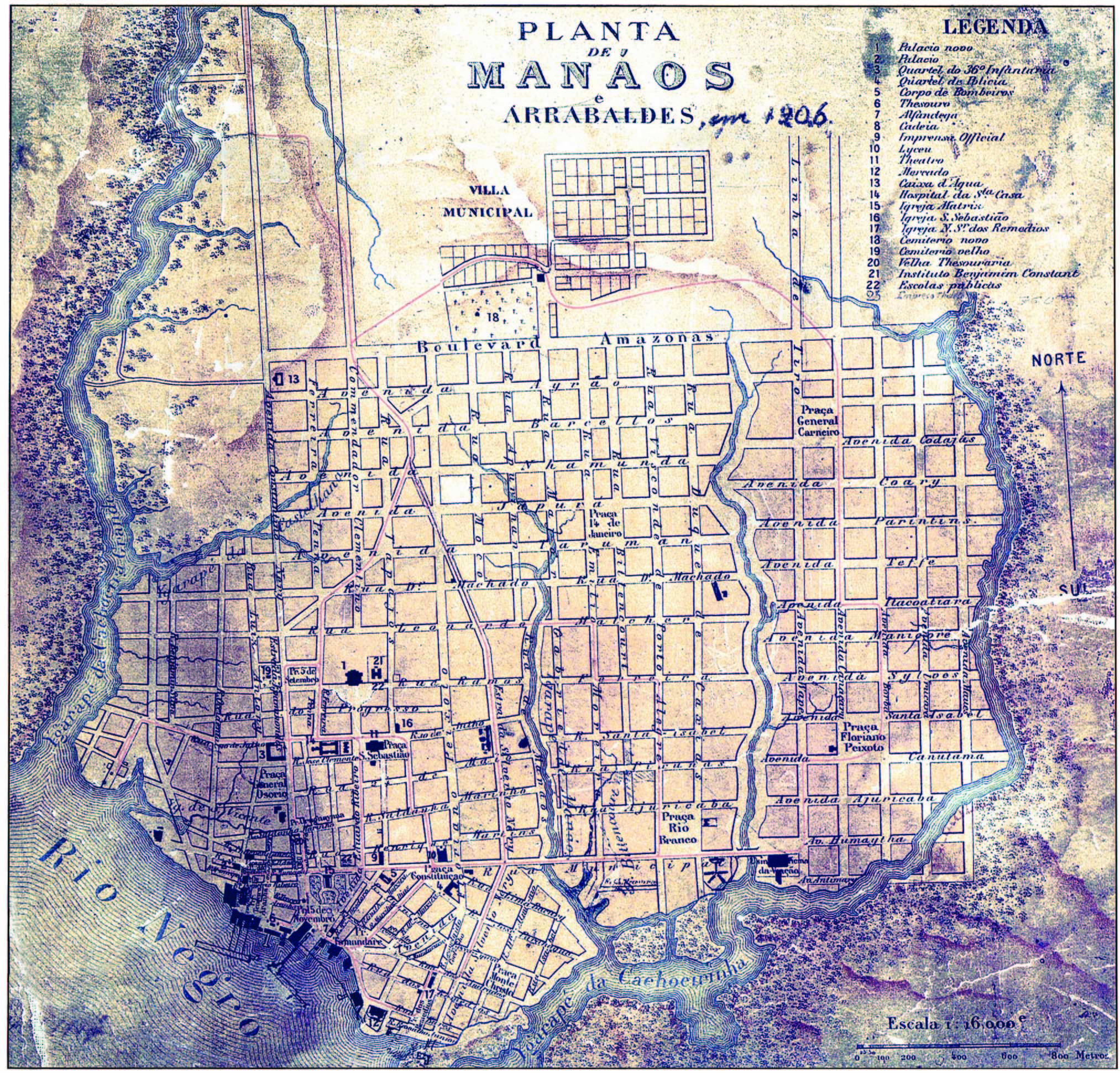 Planta de Manáos e Arrabaldes de 1906