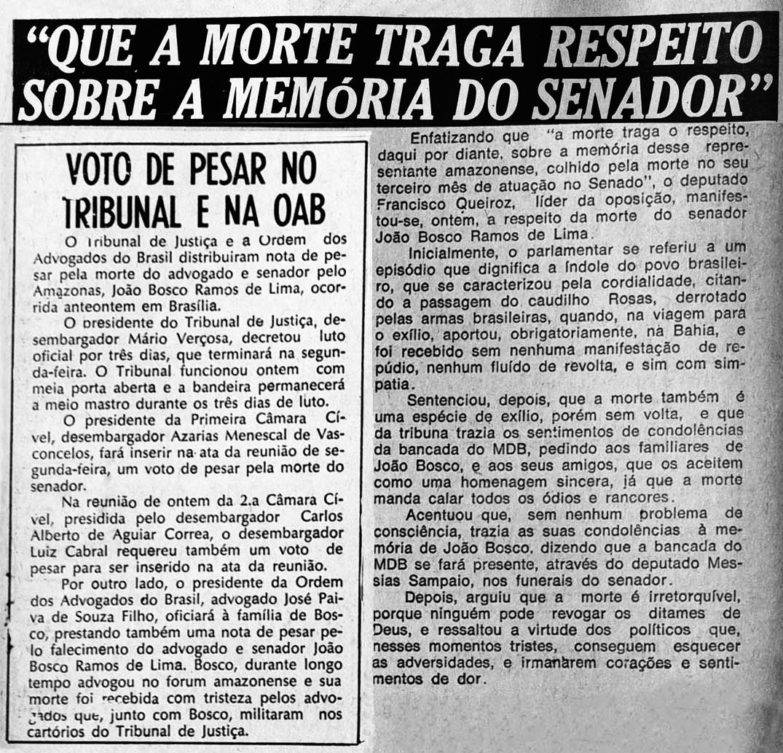Falecimento de João Bosco Ramos de Lima