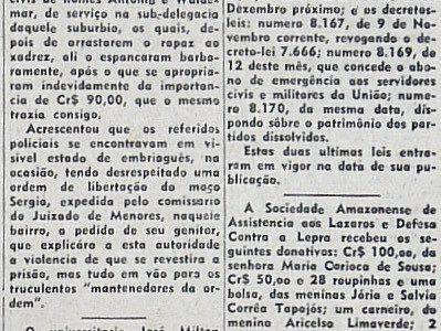 Doação a Sociedade Amazonense de Assistência aos Lázaros