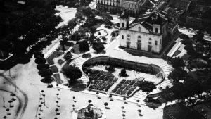 Durango Duarte - Vista aérea da Matriz e seus jardins