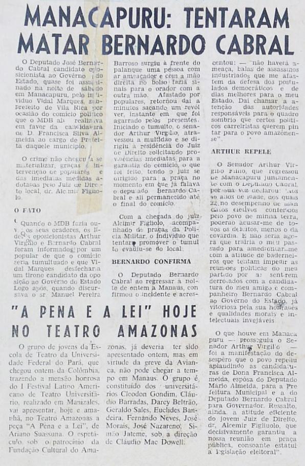 Tentativa de assassinato contra Bernardo Cabral
