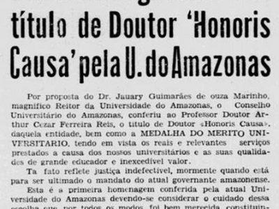 """Entrega do Título de """"Honoris Causa"""" para Arthur Reis"""
